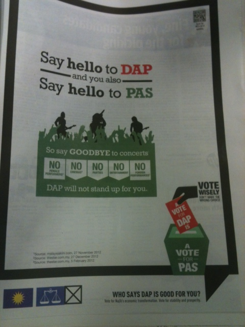 One Vote for DAP = One Vote for PAS = One Vote for Pakatan = One Vote for UBAH!
